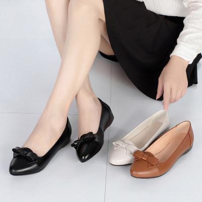金亚欣 2020新款 真皮时尚精品手工单鞋平底鞋舒适休闲百搭 女士单鞋
