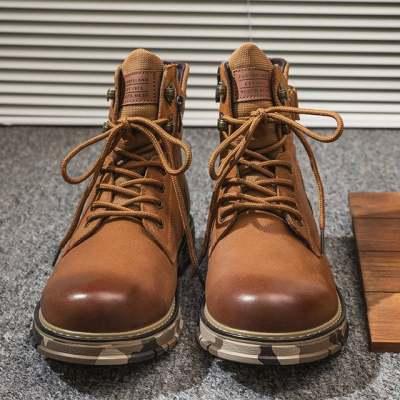 头层牛皮复古圆头马丁靴男士真皮雪地靴保暖加绒棉鞋批发皮靴【正品】