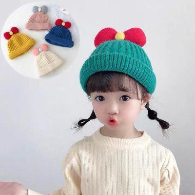 儿童帽子可爱公主蝴蝶结秋冬款宝宝毛线帽子男女婴儿套头帽【正品】