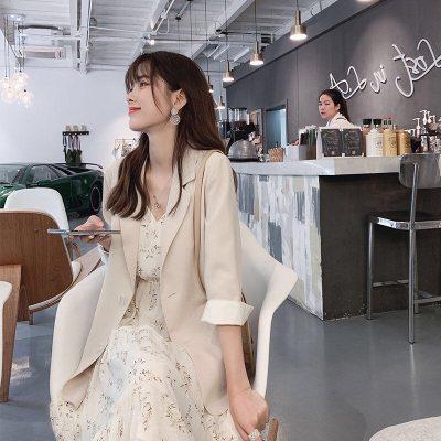 时尚两件套2021春夏新款雪纺碎花吊带连衣裙子气质西装外套套装女