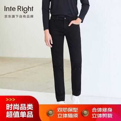 INTERIGHT牛仔裤男 商务休闲超弹 合体修身牛仔裤深黑