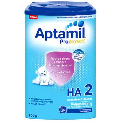 【耘凡兔013】德国Aptamil爱他美适度半水解抗防过敏免低敏婴儿奶粉2段800克*2罐