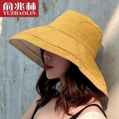 俞兆林 遮阳帽渔夫帽女夏季太阳帽优雅大檐防晒帽户外海边沙滩帽