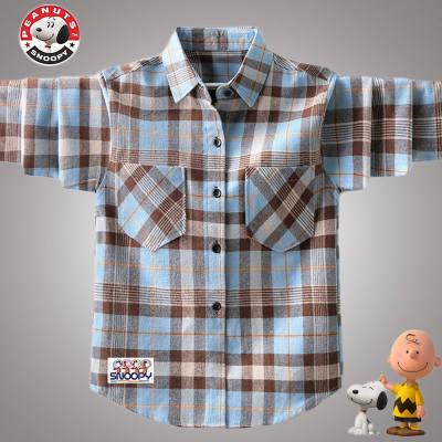 【品牌】史努比男童春装衬衫长袖儿童男孩韩版格子上衣中大童帅气春秋款潮