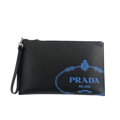 Prada新款男士十字纹小牛皮手拿包 专柜价6200
