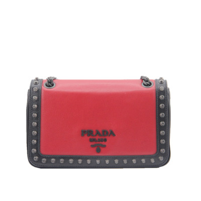 PRADA 拼色小牛皮链条包(红)专柜价13800