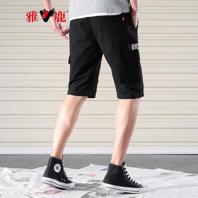 雅鹿 男休闲短裤 2019夏季棉质新款时尚潮流多袋工装五分裤