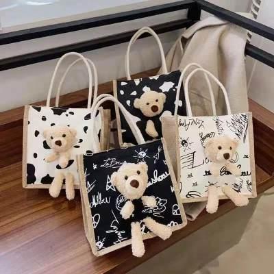 新款韩版ins手拎便携饭盒便当帆布包包女可爱单肩手提小布包