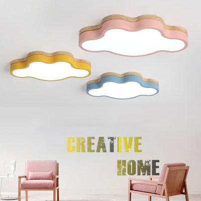 简约现代LED吸顶灯多色马卡龙卧室灯卡通儿童房云朵餐厅灯遥控