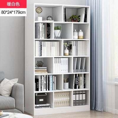 书架简约落地收纳柜置物架子桌面学生家用客厅仿实木小型简易书柜【正品】