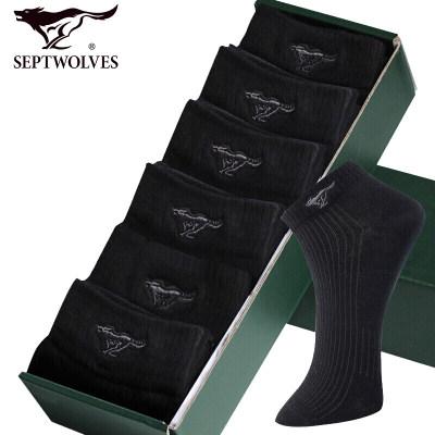 七匹狼男士袜子男短袜棉质透气船袜吸湿排汗黑色隐形运动袜 6双