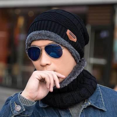 户外潮秋冬季男士加绒帽加厚套头帽子围脖两件套装针织毛线帽【正品】