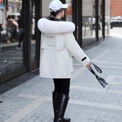 厂家直销冬装新款韩版时尚潮真毛领魔术贴羽绒服女款派克面料外套【优品】