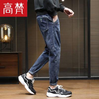 【品牌】高梵春季裤子男韩版潮流新款男士牛仔裤宽松直筒小脚裤休闲长裤子