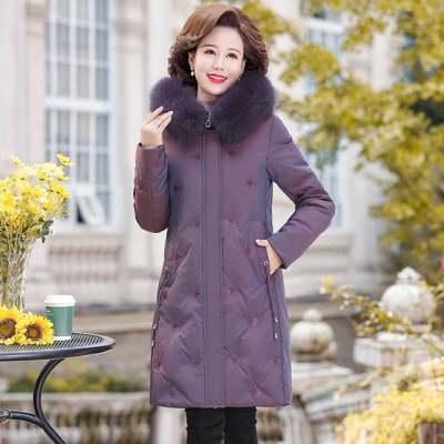 俏雅莹妈妈装棉衣冬季外套中长款真毛领气质保暖中老年女装羽绒服【正品】