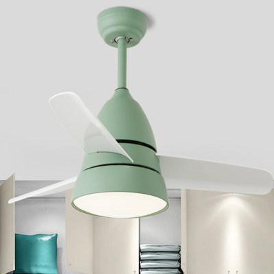 马卡龙儿童房LED风扇灯 吊灯餐厅卧室吊扇灯 带遥控白光黄光 省电 天猫同款同价 全国可发货广东可包邮
