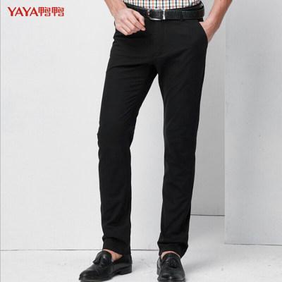 鸭鸭(YAYA)春季 休闲裤男士棉直筒长裤子男装商务男士百搭