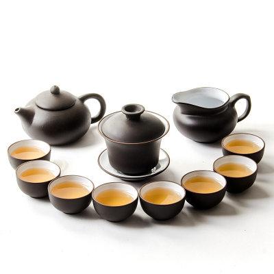 【耘凡兔002】11头紫砂功夫茶具套装盖碗公道杯茶壶套装