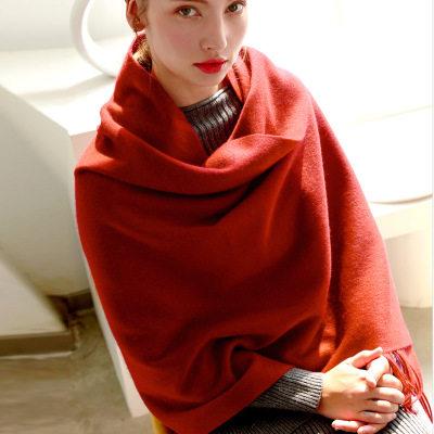 【耘凡兔936】200*70CM内蒙羊绒围巾加厚秋冬季羊毛披肩女保暖流苏纯色两用围脖100%羊毛