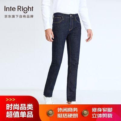 INTERIGHT牛仔裤男 经典修身窄脚牛仔裤深蓝