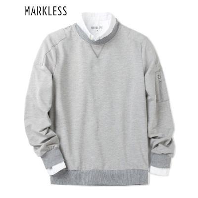 Markless 【2件199元】卫衣男纯色运动圆领套头休闲