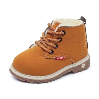 冬季新款儿童马丁靴加棉保暖低筒系带短靴批发爆款童皮鞋【正品】