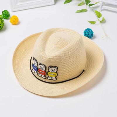 朗悦 儿童遮阳帽男女韩版卡通熊草帽户外太阳帽LPMZ1831