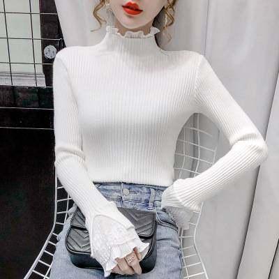 毛衣女2020秋冬新款韩版套头拼接蕾丝修身显瘦打底衫针织百搭上衣【优品】