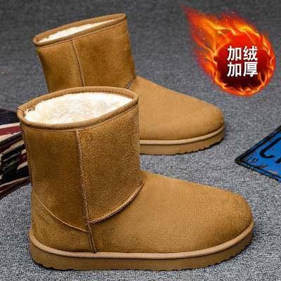 情侣棉鞋雪地靴女秋冬季2020新款高帮皮面靴加绒加厚短靴棉鞋男【正品】
