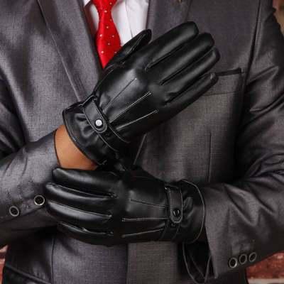 皮手套男士触屏秋冬季加厚保暖防寒棉手套 三筋白线薄款开车手套【正品】