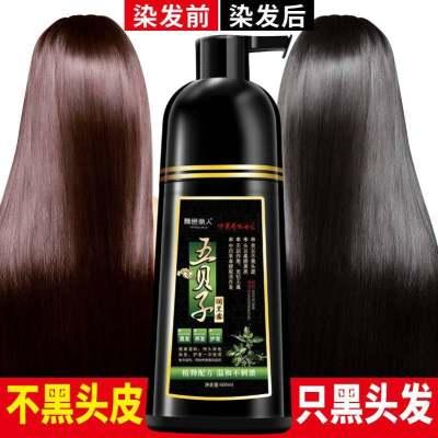 一洗黑洗发水染发剂黑色植物天然染发膏一支黑清水洗白头发一梳黑【优品】