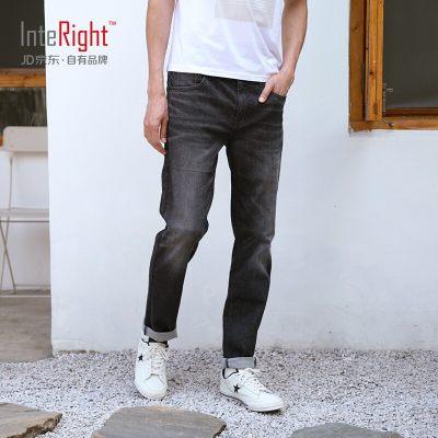 INTERIGHT牛仔裤男 轻商务合体修身 超弹牛仔裤浅黑色