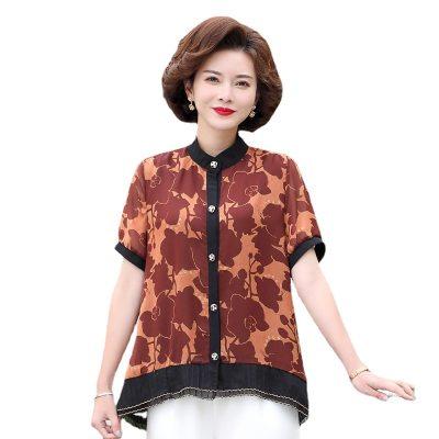 新品中年女装夏天短袖雪纺衬衫防晒衣2021新款妈妈夏装宽松上衣
