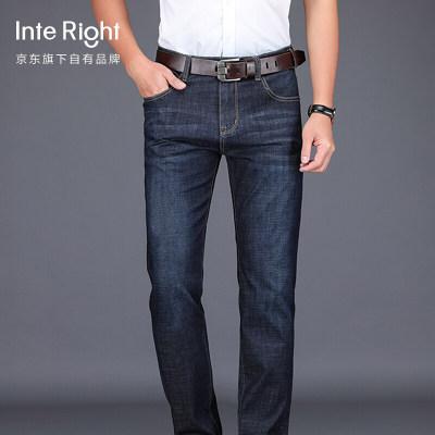 INTERIGHT 牛仔裤男直筒裤弹力修身韩版潮裤子男士大码