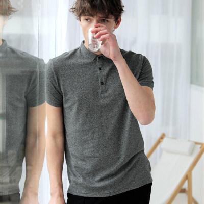 MARKLESS POLO衫男纯色针织T恤弹力修身翻领短袖衫