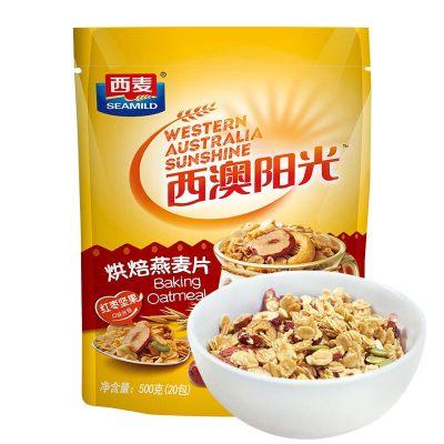 西麦 西澳阳光 即食冷冲红枣坚果烘焙干脆麦片500g**包装