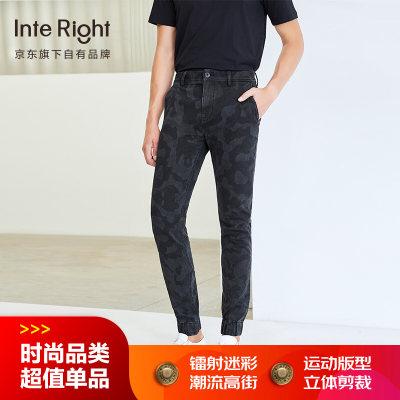 INTERIGHT牛仔裤男 潮流迷彩镭射印花束脚牛仔裤