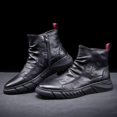 头层牛皮鞋高帮真皮男鞋欧洲站男靴百搭拉链鞋韩版马丁靴男休闲鞋
