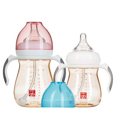 【耘凡兔748】gb好孩子婴儿奶瓶PPSU奶瓶宽口径小饿魔宝宝奶瓶带握把吸管300Ml/240ML