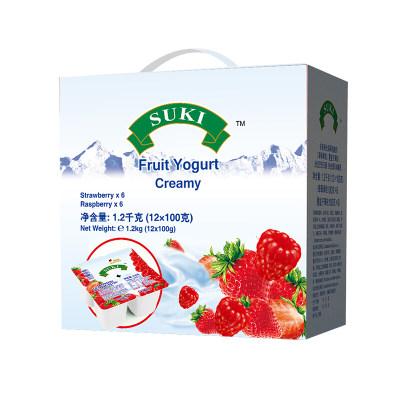 德国进口酸奶 多美鲜(SUKI)草莓覆盆子果粒全脂酸奶 杯装