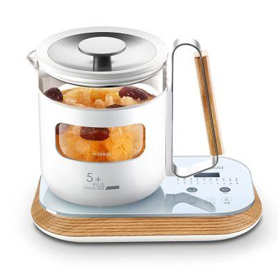 韩国现代(HYUNDAI)养生壶全自动玻璃加厚电热水壶花茶壶煮茶器煮茶壶QC-YS0618木纹色 木纹色