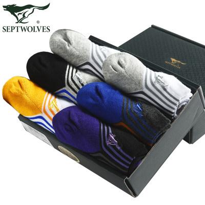 七匹狼袜子男夏季棉袜运动低帮短袜吸汗透气船袜 时尚条纹6双