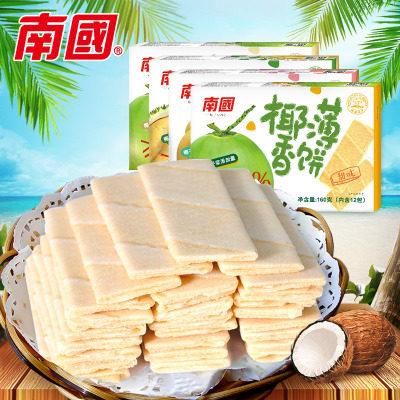 【耘凡兔296】海南特产 南国食品 椰香薄饼160gX4盒多口味榴莲香蕉甜味咸味