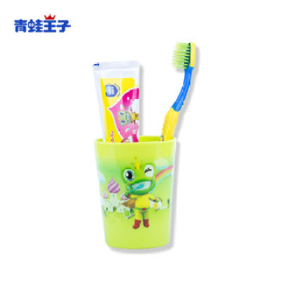 【耘凡兔790】青蛙王子爱芽星宝宝儿童牙刷牙膏套装双效护齿防蛀超细软毛送水杯