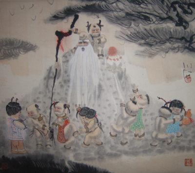 傅小石先生国画作品挂轴