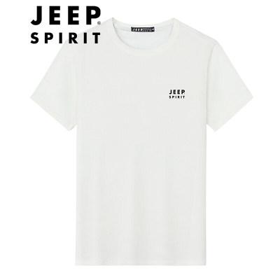 吉普(JEEP)短袖T恤 男士印花T恤宽松大码透气休闲半袖