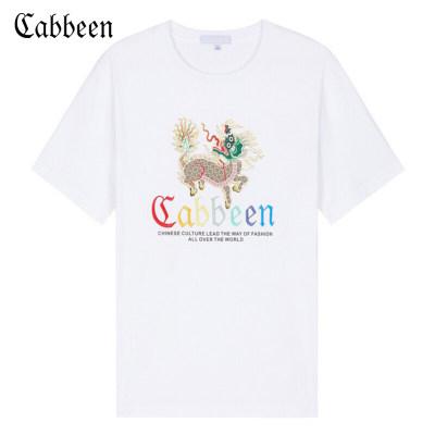 卡宾男装**风刺绣圆领短袖T恤2019新品春季故宫系列联名款