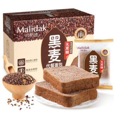 【耘凡兔784】玛呖德黑麦全麦代餐面包无蔗糖粗粮早餐零食品整箱1000克