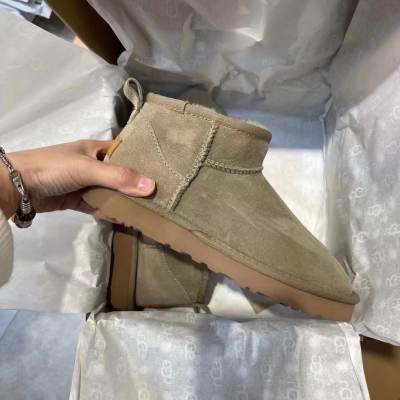 UG* 雪地靴 低筒靴 加绒保暖女靴 经典时尚 皮毛一体 一脚蹬