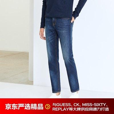 京选尚品×INTERIGHT】INTERIGHT牛仔裤男 美式宽松直筒牛仔裤中蓝色 34 175/84A